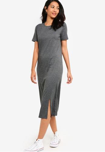 ZALORA BASICS grey Basic Midi Dress With Slit C8B69AAE9C842AGS_1