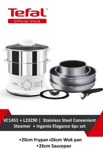 TEFAL Tefal Stainless Steel Convenient Steamer VC1451 + Tefal Ingenio Elegance 6pc set L23290 0891EHLA38E55CGS_1
