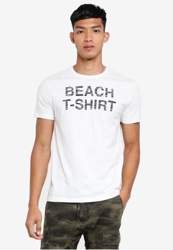 OVS 白色 休閒圖案印花T恤 F4824AAD45DB24GS_1