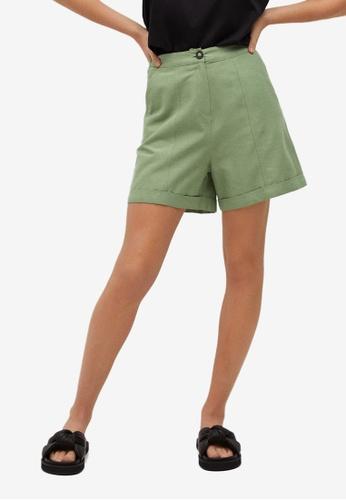 Mango green High-Waist Shorts BCCF8AAF784042GS_1