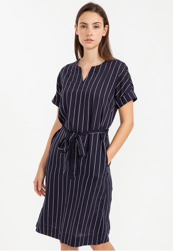 Bossini navy Short Sleeve Striped Dress 34960AA30485B5GS_1