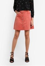 Something Borrowed orange Button Down Corduroy Skirt D2536AA19C3589GS_1