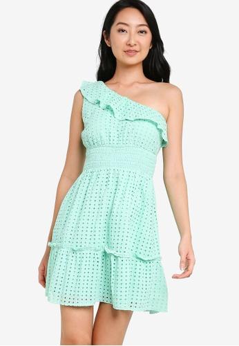 ZALORA BASICS green Tiered Toga Dress 79E89AAB7657DFGS_1