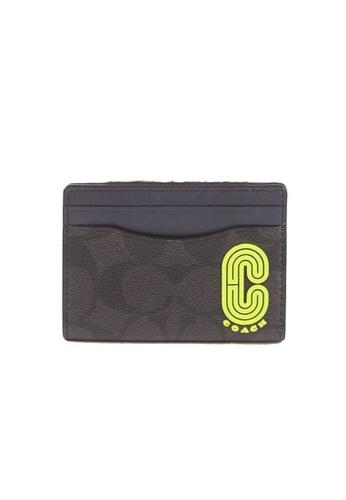 COACH black Coach Signature Magnetic C5595 Card Case In Black Midnight Multi 07E7CACDBE16A0GS_1