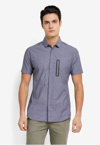 ZALORA navy Mandarin Collar Pocket Short Sleeve Shirt F1720AA449D39FGS_1