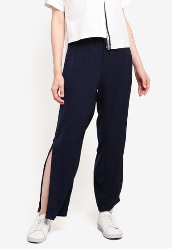 Something Borrowed navy Stripe Rib Track Pants 67A64AAE243EDEGS_1