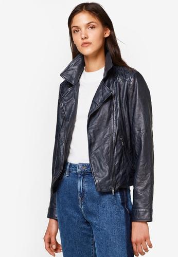 ESPRIT navy Outdoor Leather Regular Jacket 4F529AA0C6B6DFGS_1