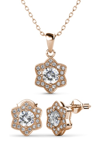 Her Jewellery gold Estella Set (Rose Gold) - Embellished with Crystals from Swarovski® 93784ACF578936GS_1
