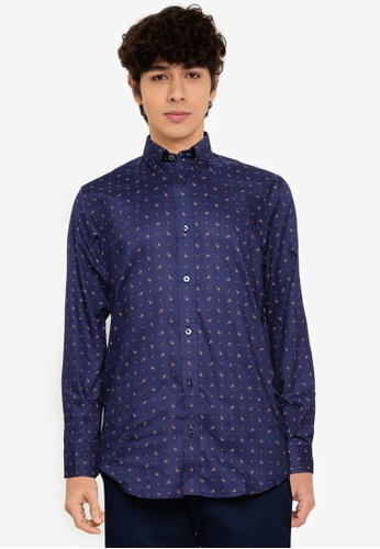 Ben Sherman blue Mini Paisley Print Shirt A6D3EAAAAC1E97GS_1