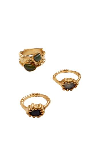 Violeta by MANGO gold Semiprecious Stone Ring Set 58C53AC39A48EAGS_1