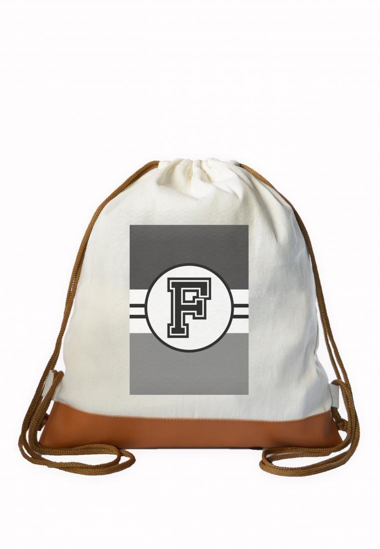 Drawstring Bag Monochrome Sporty Initial F