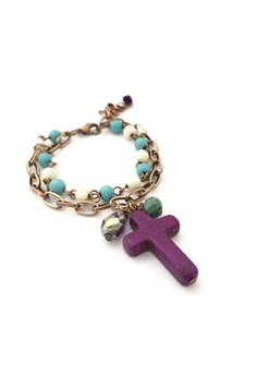 Cross Beaded Copper Bracelet