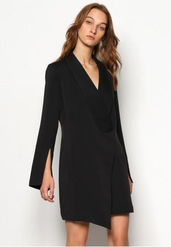 zalora 泳衣Tuxedo 深V領長袖迷你連身裙, 服飾, 洋裝