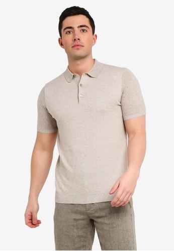 MANGO Man beige Structured Knit Cotton Polo Shirt A2C8FAA9DEF66BGS_1