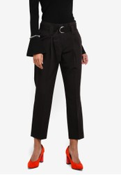 Dorothy Perkins black Black D-Ring Tapered Trousers DO816AA0S7BJMY_1