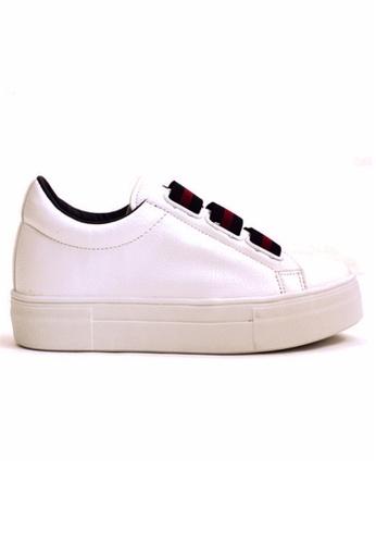 Crystal Korea Fashion white Korean Solid Color Shoelace Wild Bottom Slip-ons CR681SH2UR97HK_1