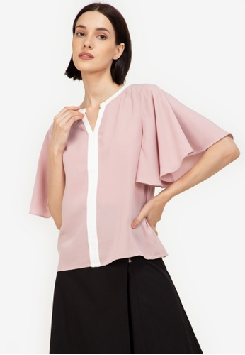 ZALORA WORK pink Butterfly Sleeves Contrast Panel Blouse AB637AA9CD00B9GS_1