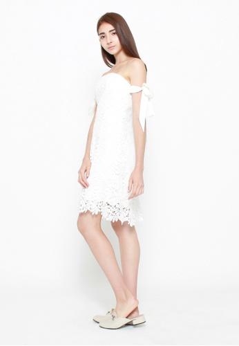 QLOTHE white Delphine Lace Bandeau Dress 4775EAA2559B66GS_1