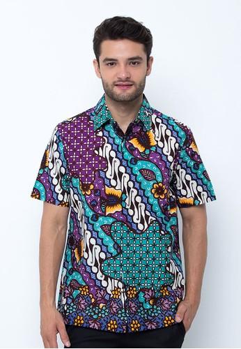 Pradawita purple Pradawita Batik Kemeja Lengan Pendek Hokokai 1B - Ungu B38F8AA0A453BAGS_1