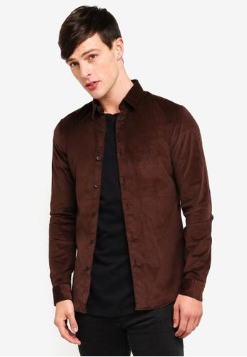 Topman 褐色 燈芯絨修身長袖襯衫 E4DC3AAD99E8D1GS_1
