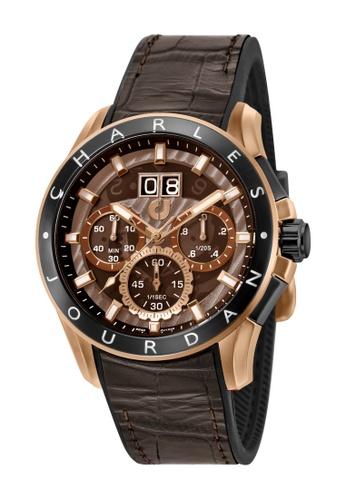 Charles Jourdan brown Charles Jourdan Men CJ1035-1542C Brown Silicone Leather Watch 250AEAC1CBD36BGS_1