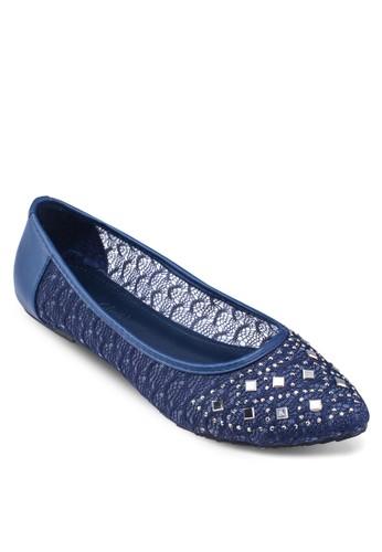 蕾絲鉚釘尖zalora 折扣碼頭娃娃鞋, 女鞋, 鞋