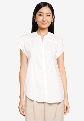 GLOBAL WORK white Curve Hem Shirt 0BE5BAA0AD728EGS_1