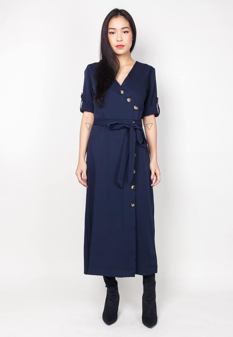 Navy Buttons Midi DELIA 2nd With Dress Navy In Edition 8q8nStaxH