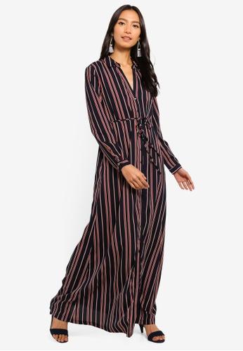 Mela London multi and navy Stripe Maxi Shirt Dress E16EEAAF507E49GS_1