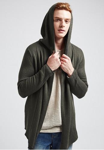 韓式型男。街頭百搭。剪裁針織esprit官網外套-03600-軍綠, 服飾, 外套