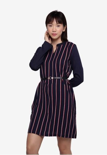 Applemints navy Long Sleeve Dress/Long Top in Stripe - NAVY AEF5EAA6A369B1GS_1