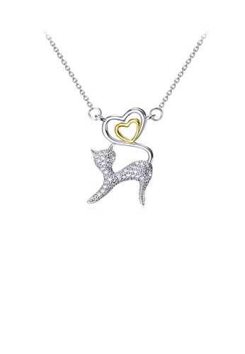 Glamorousky white 925 Sterling Silver Simple and Cute Cat Gold Heart Pendant with Cubic Zirconia and Necklace A6E4DAC843CF70GS_1
