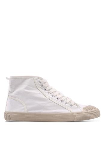 Burton Menswear London white White Canvas Toe Bumper High Tops 0DDD6SHAA3797CGS_1