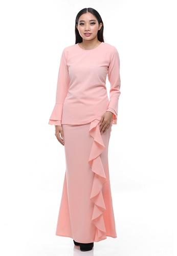 Suraiya Modern Kurung from Secretcode in Pink and Orange