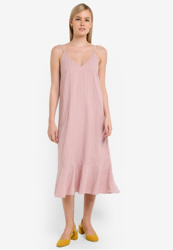 Something Borrowed pink Fluted Hem Cami Midi Dress C5AFCAA7FCE8C3GS_1