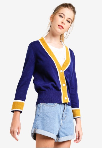 Something Borrowed blue Colorblock Cardigan A1978AA3858502GS_1