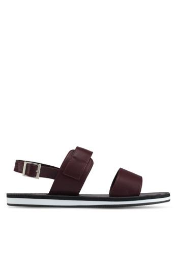 ZALORA red Faux Leather Sandals 3E5E1SHF28FFB0GS_1