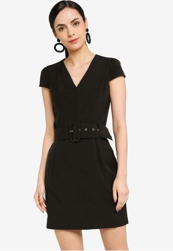 ZALORA WORK black Cap Sleeve Mini Dress 9CC86AAF9CA358GS_1
