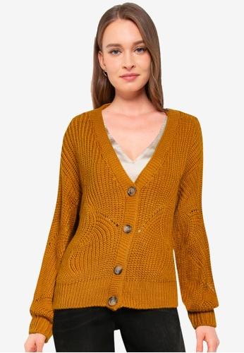 Pieces yellow Benita Long Sleeve Knit Cardigan 2D46CAAFB25D9DGS_1