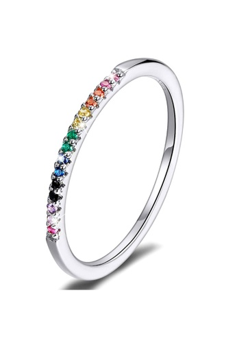 925 Signature 925 SIGNATURE Solid 925 Sterling Silver Rainbow Colourful Casual Ring 7B331ACD10D265GS_1