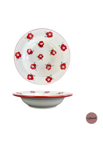 &glazed white and red and blue &Glazed Poppy 9-inch Medium Deep Dish Arrabbiata C3E32HL950170EGS_1