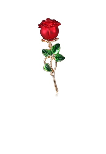 Glamorousky silver Fashion and Elegant Plated Gold Rose Brooch 7E7F1ACAF78AC9GS_1