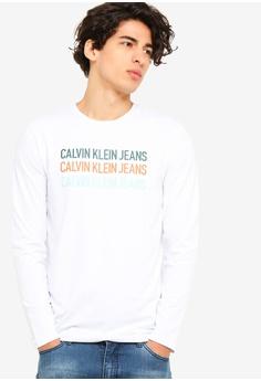 454877009f Calvin Klein white Long Sleeve Fashion Logo Slim Tee - Calvin Klein Jeans  32C56AAAE2C674GS 1