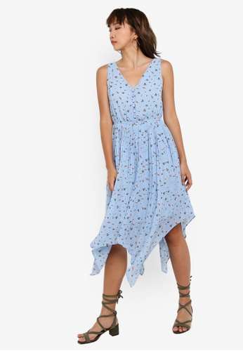Something Borrowed blue and multi Pleated Hankerchief Hem Swing Dress 74B4DAA5035577GS_1