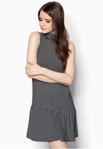 高領條紋低腰洋裝,zalora 心得 服飾, 洋裝