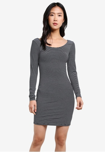 Miss Selfridge multi Striped Long Sleeve Bodycon Dress MI665AA0S2KYMY_1