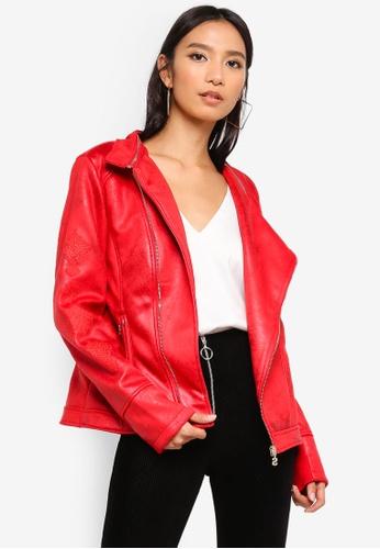 Desigual red Marble Biker Jacket 40F9CAABC1FF3FGS_1