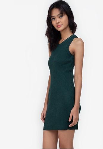 ZALORA BASICS green Knitted Bodycon Dress C3941AABBF329CGS_1