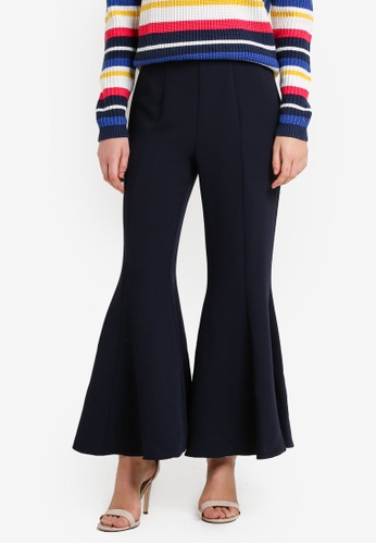 TOPSHOP navy Clean Panel Crop Flare Trousers TO412AA38JXHMY_1