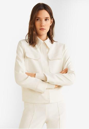 Mango 米褐色 長袖口袋外套 D730AAAE5F2285GS_1